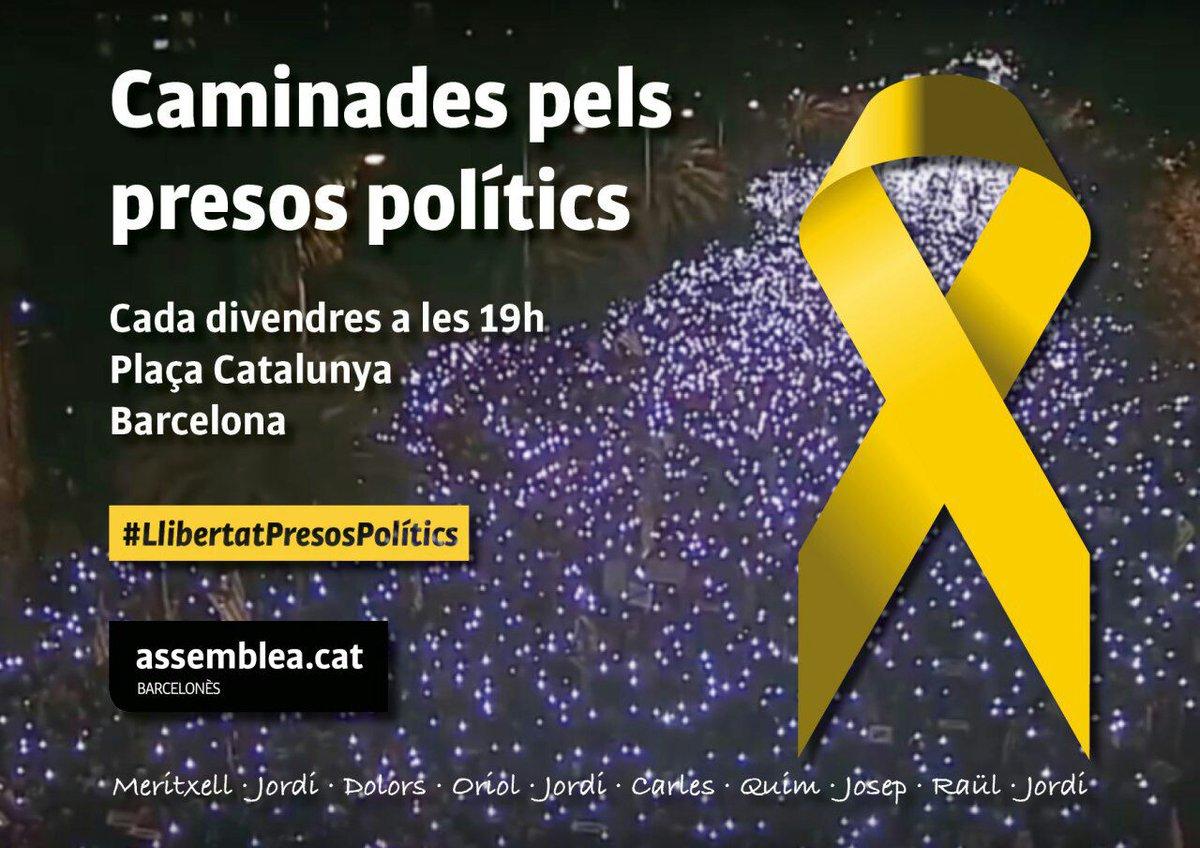 Caminada pel presos polítics, cada divendres a les 19h a Plaça Catalunya