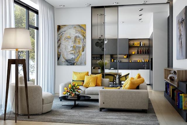 Living Room Kece dengan Aksen Warna Kuning