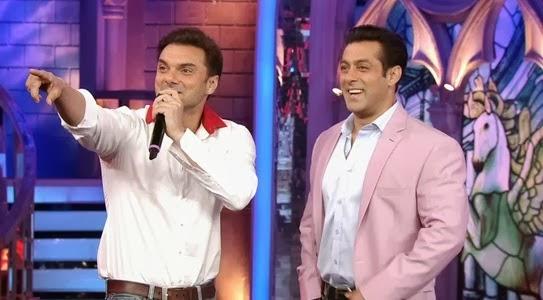 Sohail Khan and Salman Khan together at Bigg Boss set