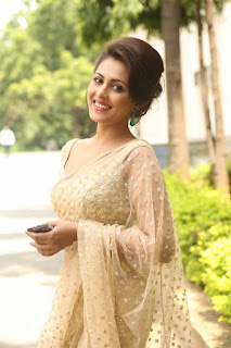 Madhu Shalini in a Designer heavy work Beige Saree with Backless Blouse amazing Stunning Spicy Beauty