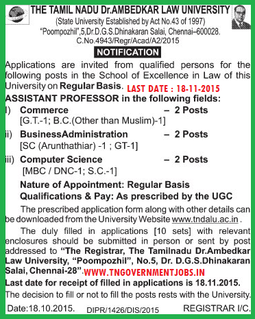 Applications are invited for Assistant Professor vacancy in Ambedkar Law University Chennai