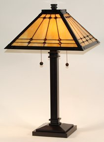 Dale Tiffany Jeweled Mission Bronzed Metal Table Lamp, Image