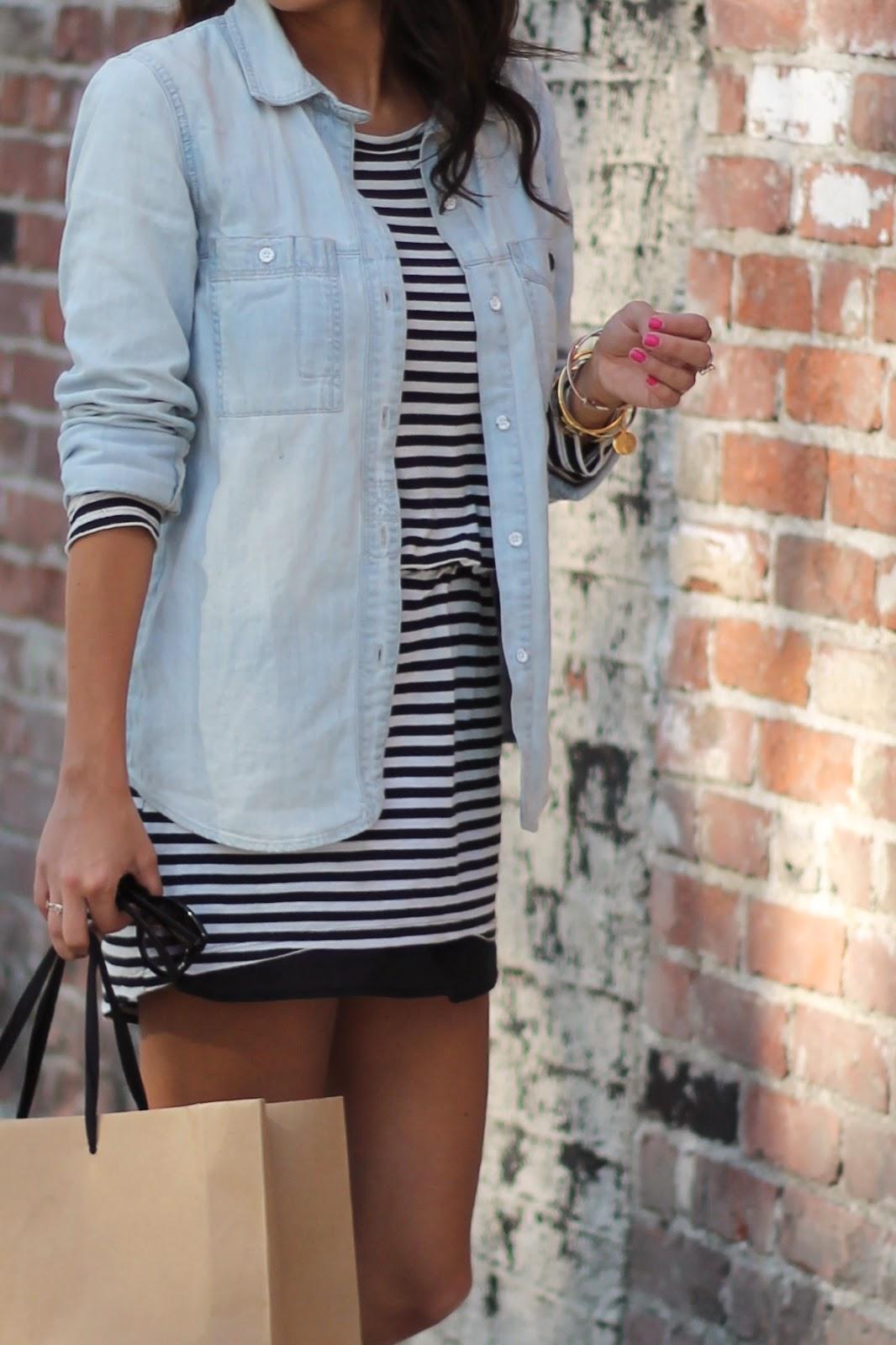 layering with stripes chambray shirts