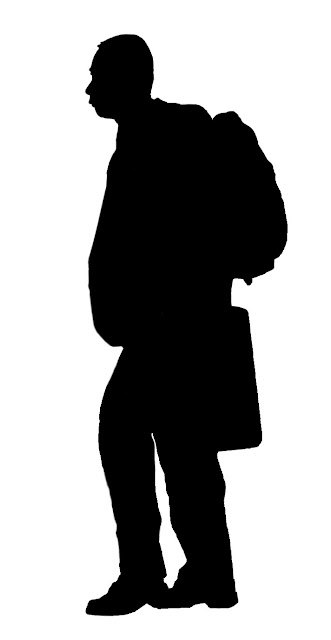 silhouette of man wearing jacket with backpack and briefcase