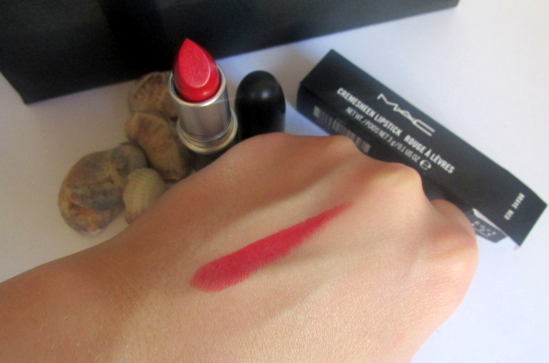 MAC cremesheen lipstick brave red swatch