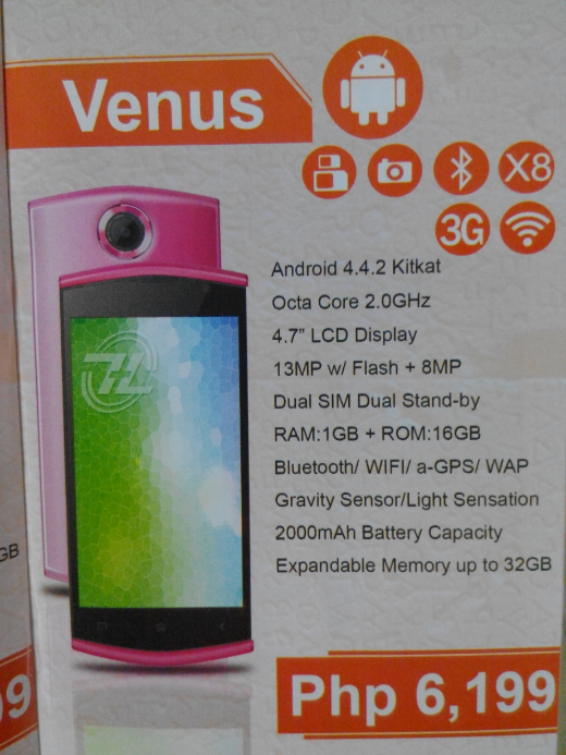 ZH&K Mobile Venus Specifications Price P6,199