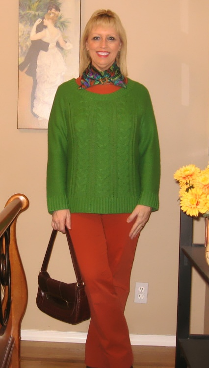 bright green sweater