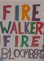 colorful sign saying, Fire Walker, Fire Bloomberg