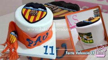 Tarta fondant Valencia CF. Laia's Cupcakes. Puerto Sagunto.
