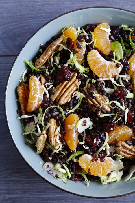 Salad Bowl with black rice, lentils, clementines, pecans and Brussel sprouts
