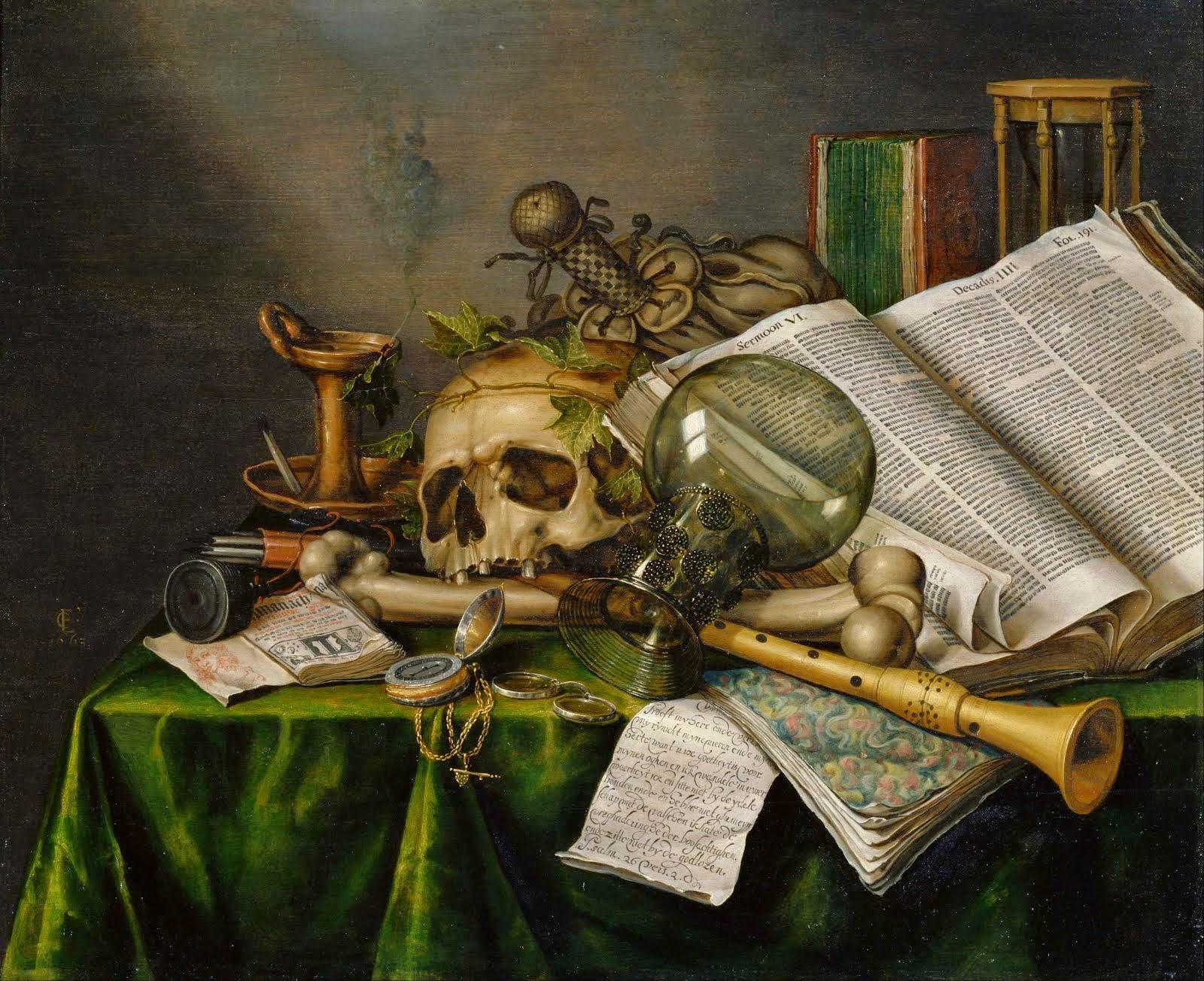 natureza morta e vã com materialização dos objetos da metafísica