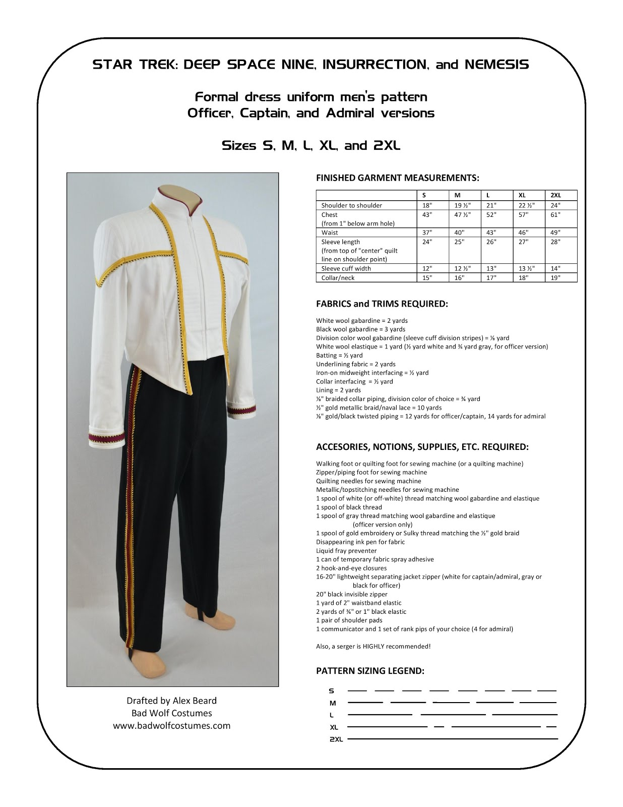 Star Trek: DS9/NEM Men's Formal Uniform Sewing Pattern