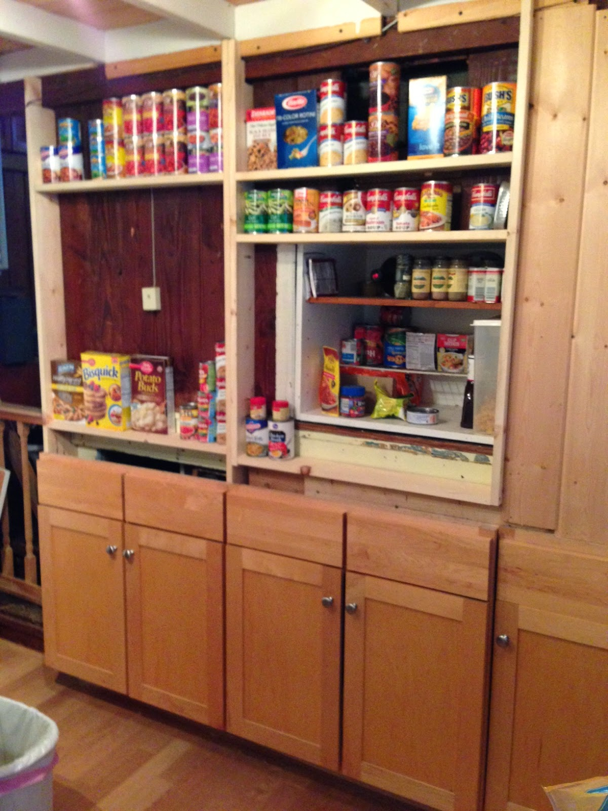 Blue roof cabin diy pantry cabinet using custom cabinet doors - Bathroom pantry cabinets ...