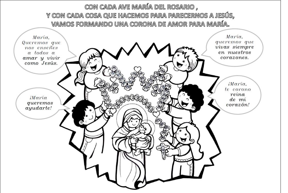 PARA COLOREAR: La Virgen y el Rosario para colorear