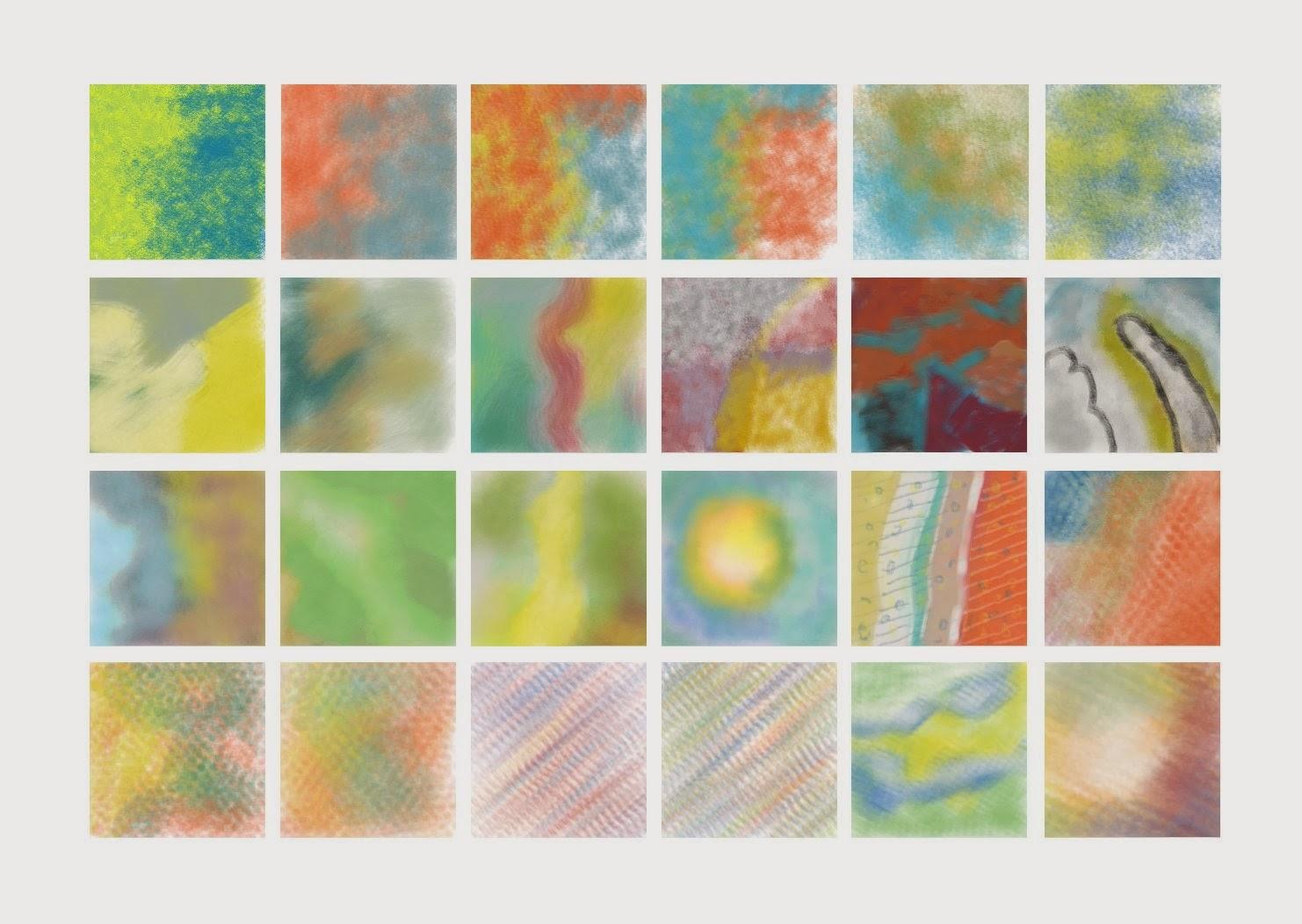 Pinceladas de teste com vários tipos de pinceis e dinâmica para pintura molhada. Realizado no Gimp.