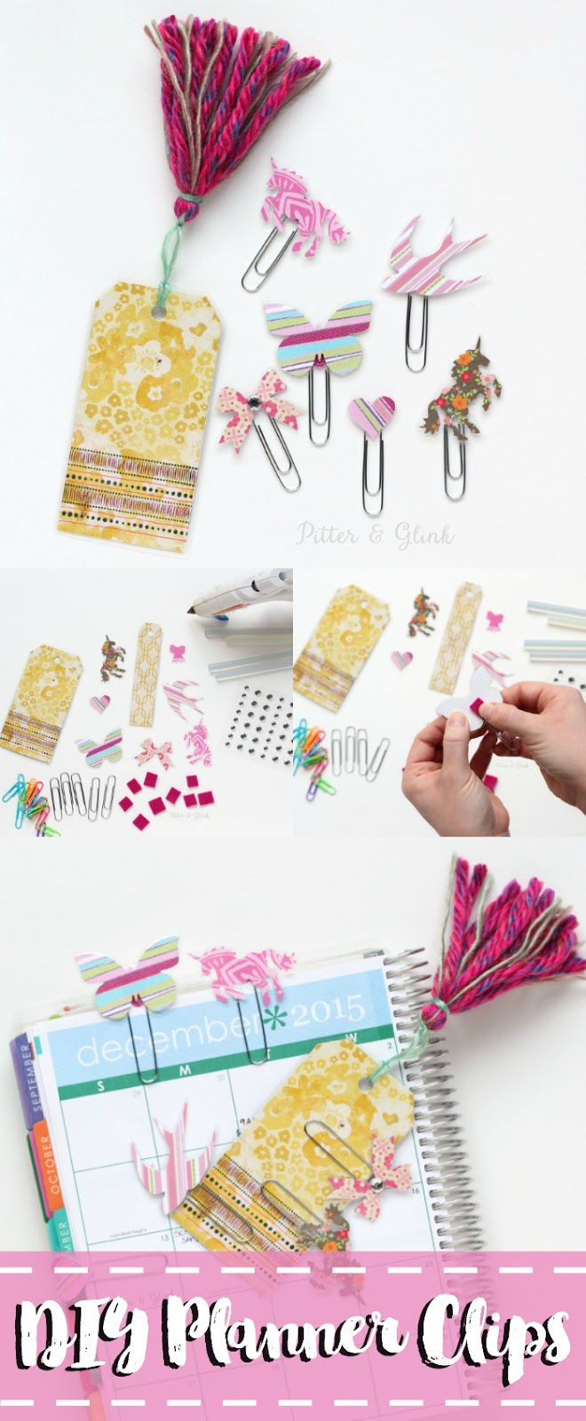 Learn how to easily make inexpensive handmade planner clips using scrapbook paper! www.pitterandglink.com