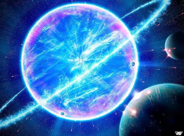 Saturno explosão de luz, planeta de luz
