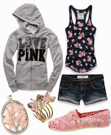 Denim Shorts WIth Floral Singlet And Sweatshirt