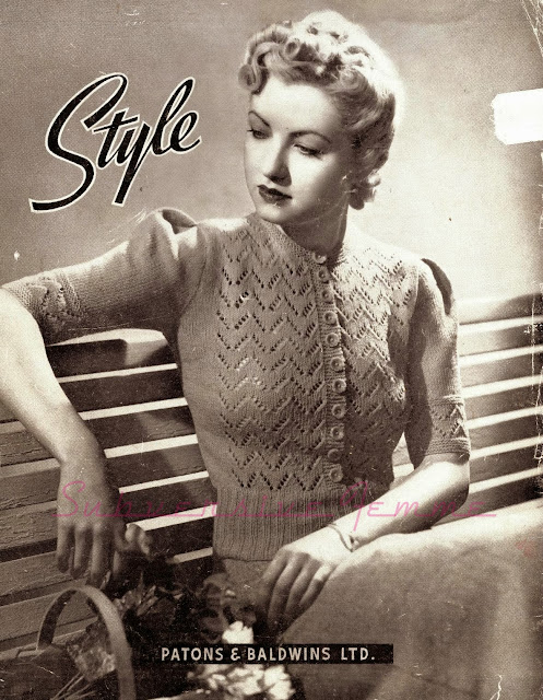 free vintage knitting pattern 1940s jumper cardigan swing wwii