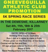 Killarney Spring 5k Series...Sat 4th, 11th, 18th & 25th Feb 2017