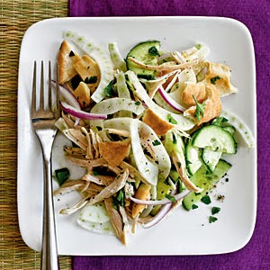 Pita Salad with Cucumber, Fennel, and Chicken Recipe