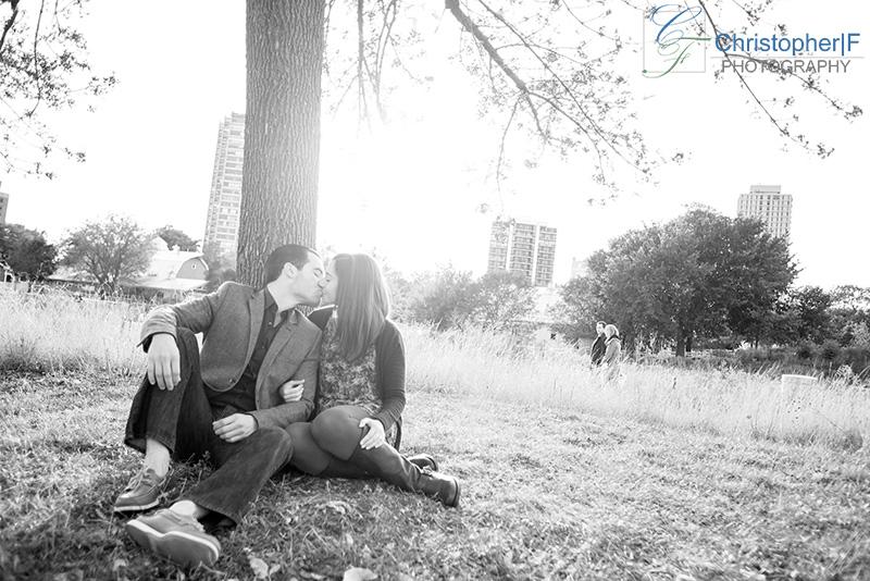 Lincoln Park Pavilion Engagement Photo