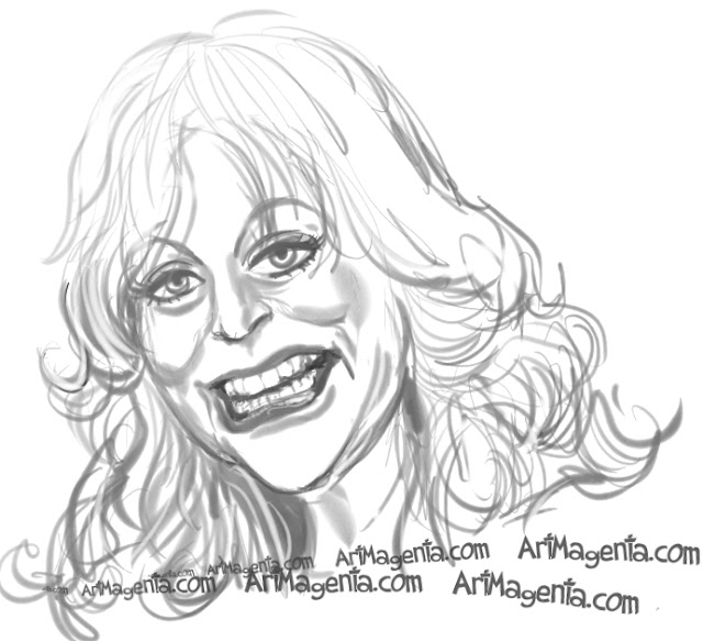 Goldie Hawn  caricature cartoon. Portrait drawing by caricaturist Artmagenta
