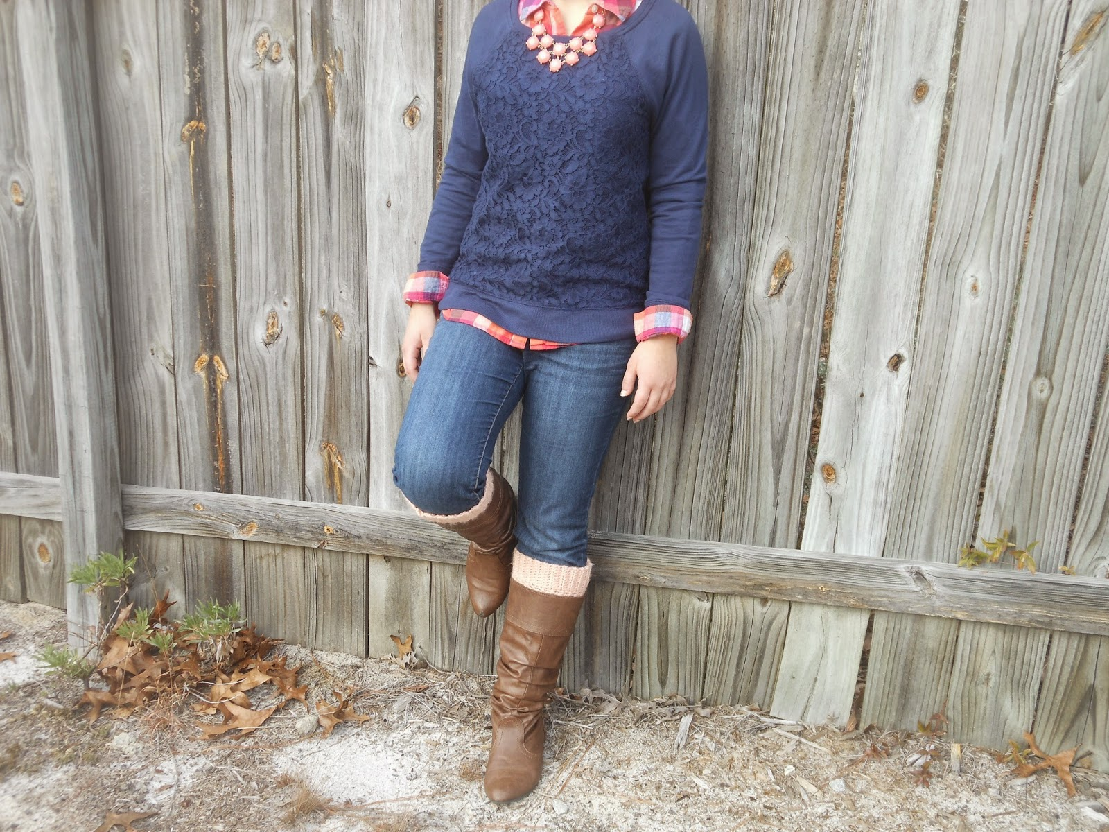 PMT Style Challenge: Copy an Outfit You Pinned. Plaid button down, lace sweater, jeans, riding boots, boot socks, statement necklace.
