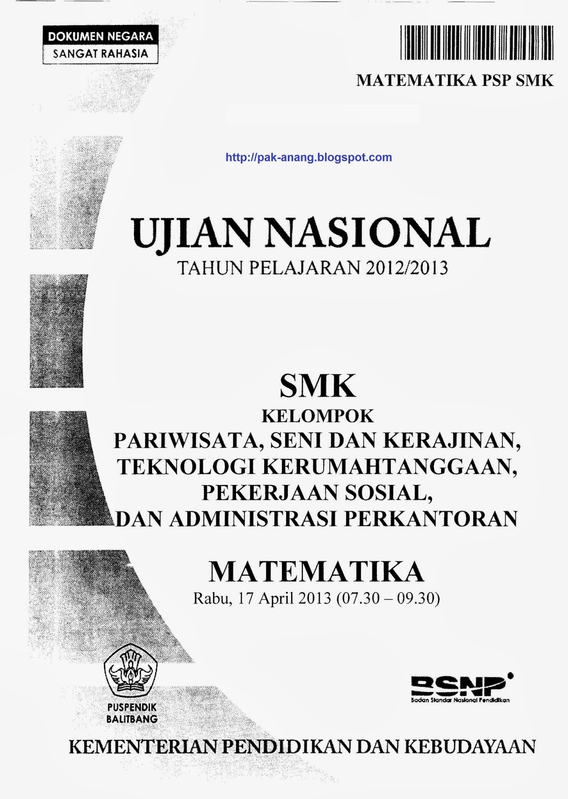 Berbagi Dan Belajar Naskah Soal Un Matematika Smk 2013 Kelompok Pariwisata Seni Dan Kerajinan