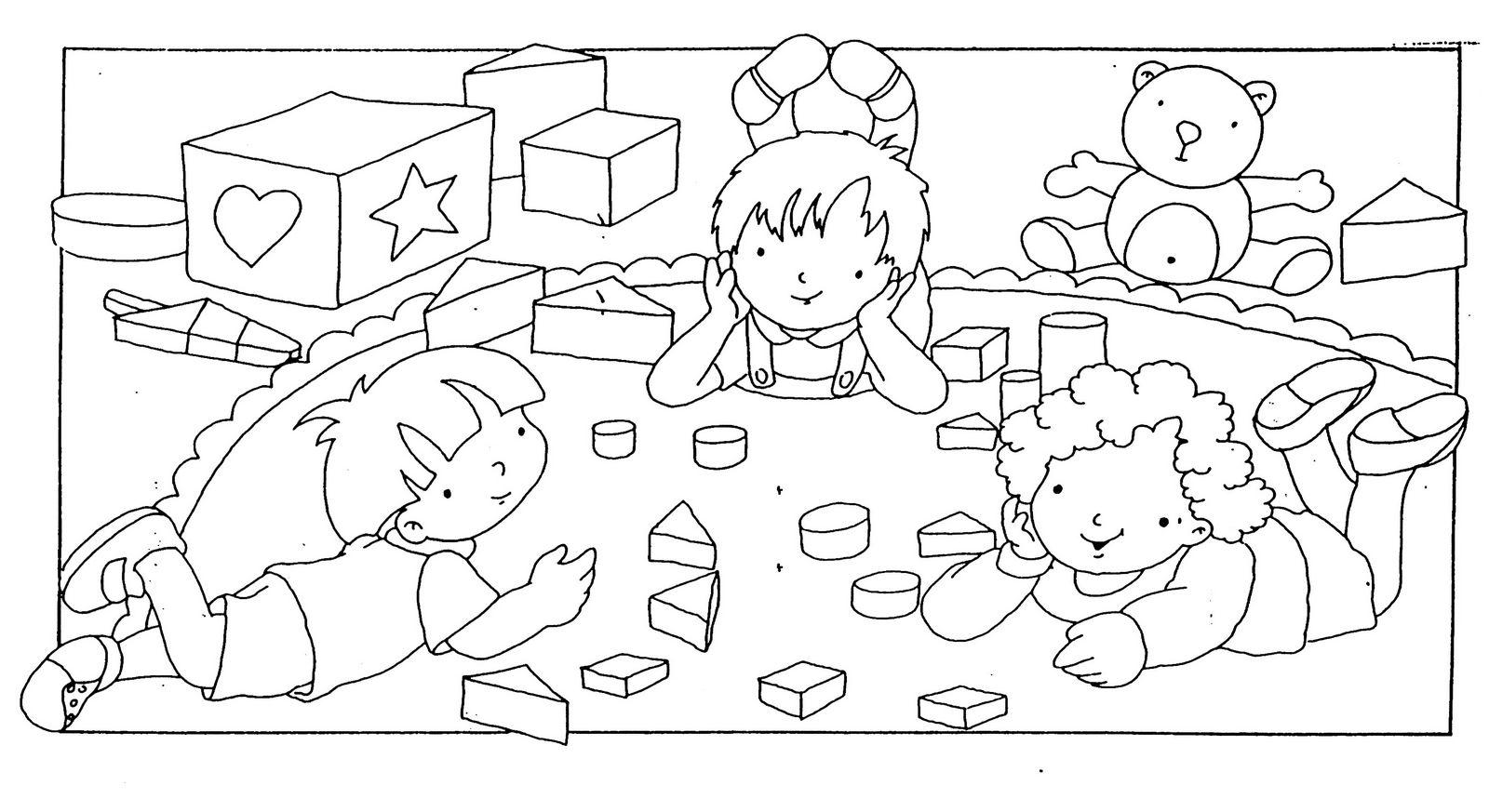 Niños jugando en la escuela para colorear ~ Dibujos para Colorear ...