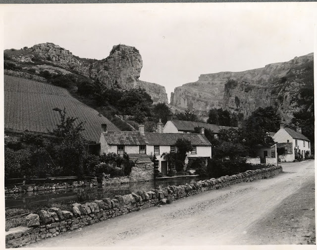Cheddar Gorge. Lying on the southern edge of the Mendip Hills the gorge in Carboniferous Limestone was formed by mettwater floods in periglacial periods