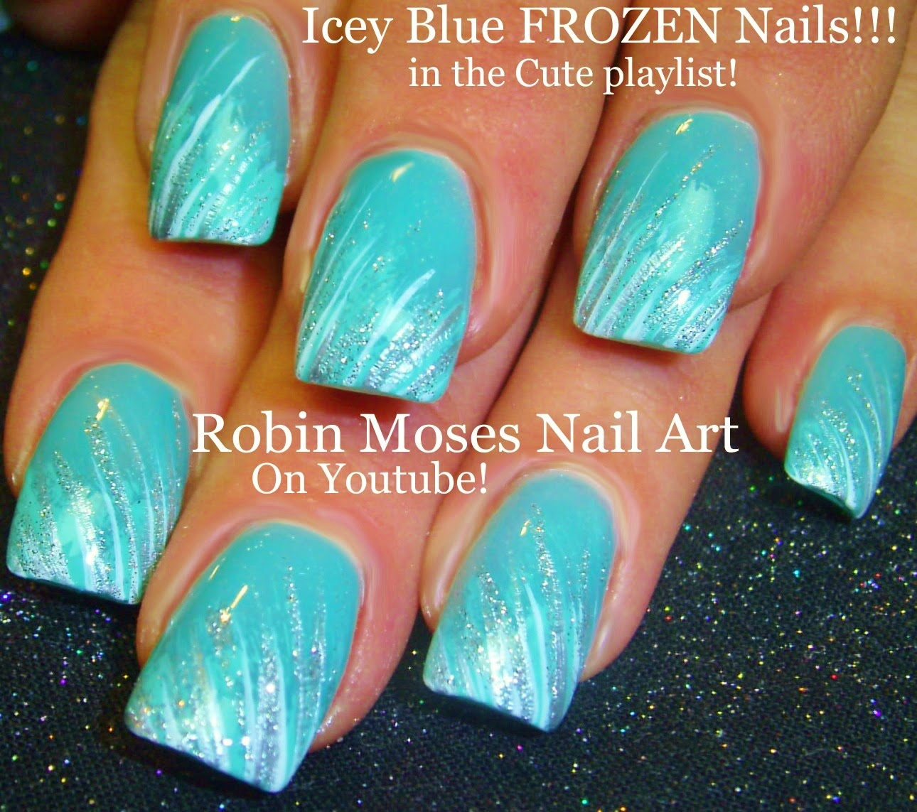 Frozen Nails Disney Light Blue Winter Nail Art Nailart Nailz Tutorial