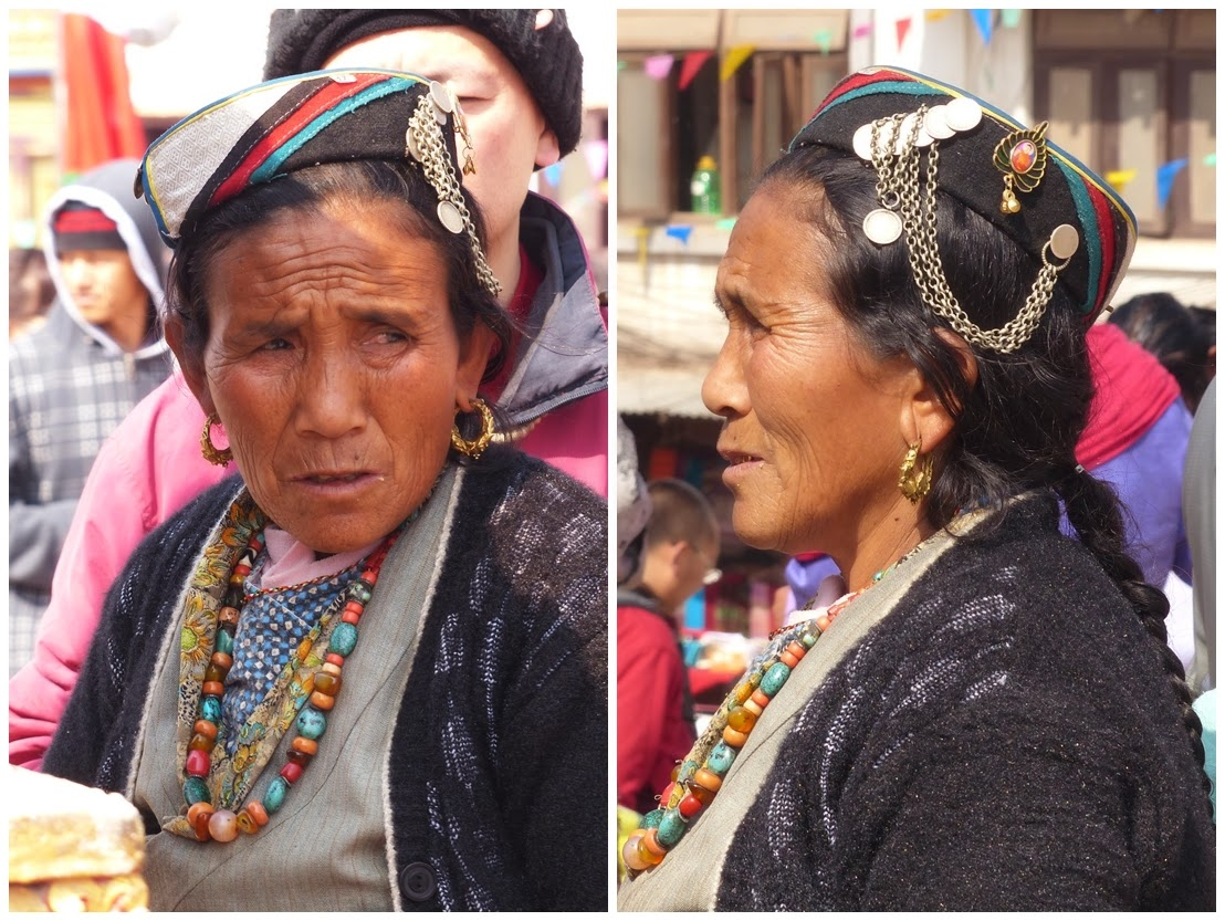 Sherpa women in traditional hat decorated with coins and chains