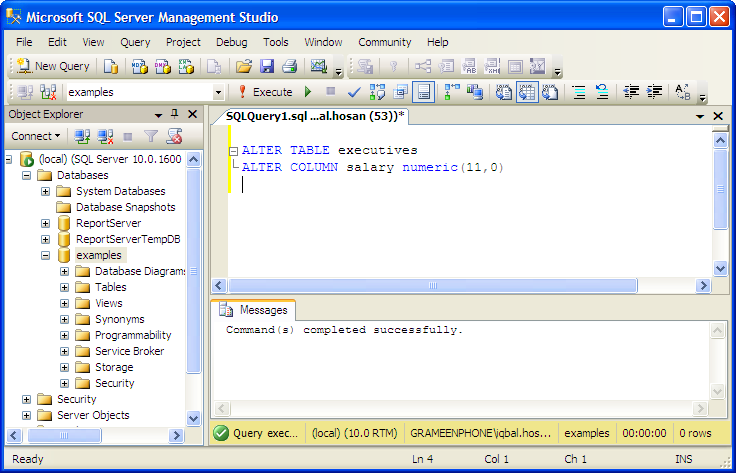 Examples alter table mssql database server tutorial - Alter table modify column sql server ...