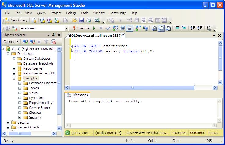Examples alter table mssql database server tutorial - Alter table drop column sql ...