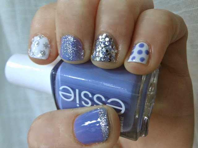 Essie's Lapis of Luxury with Polka Dots and silver glitter