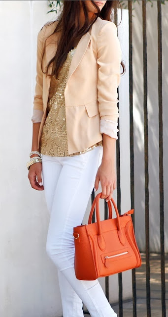 street style: sequin top with white skinny jeans