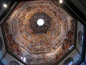 La cúpula vista desde el interior, con los frescos de Giorgio Vasari.