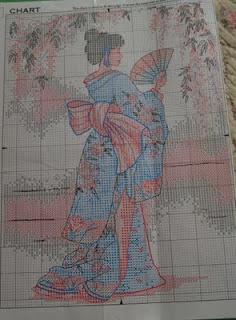 Korsstings mønster. Geisha.