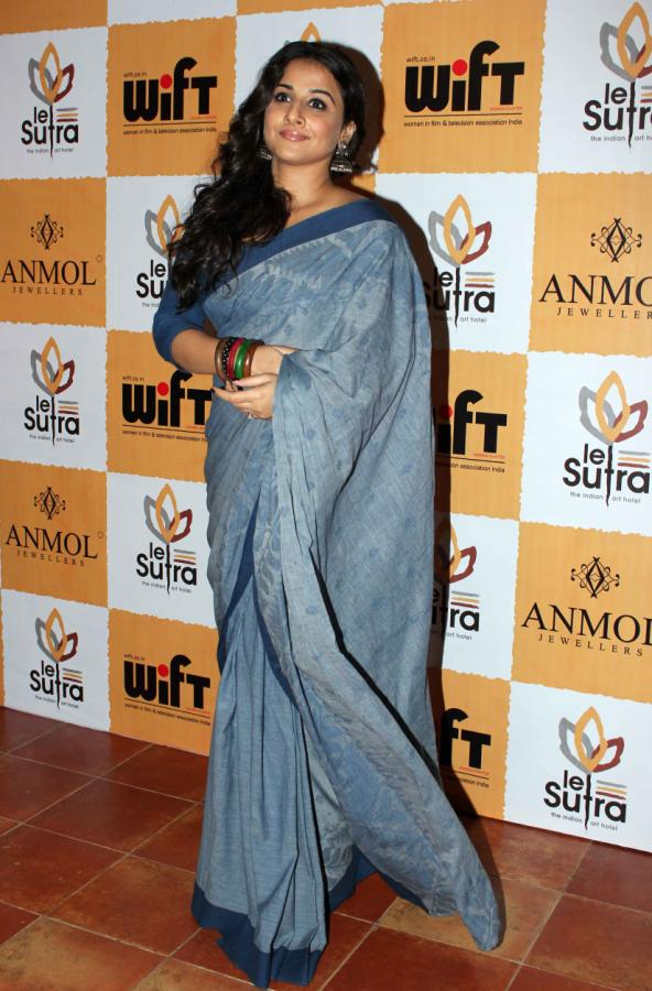 Bollywood Actress Vidya Balan blue Saree Photos