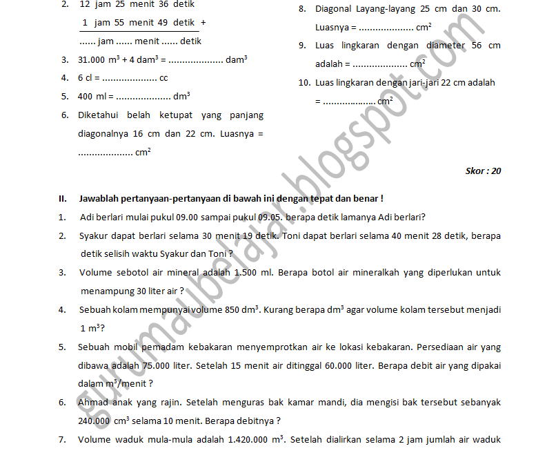 Download Soal Latihan Matematika Sd Kelas 6 Semester 1 2011 2012 Guru Mau Belajar