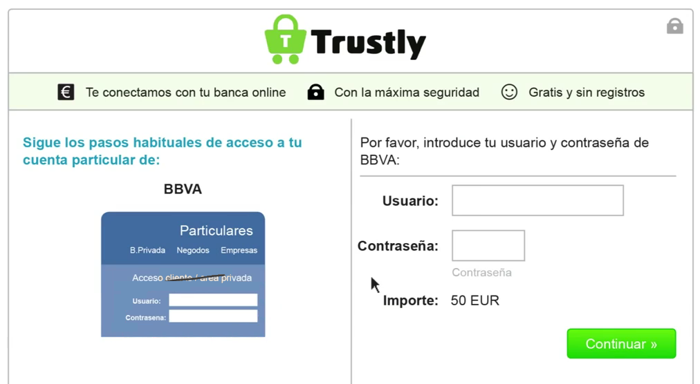 Trustly Account Transactions Screen