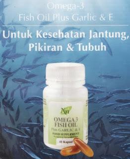 Omega 3 Fish Oil Plus Garlic And E sangat berkhasiat untuk kesehatan Jantung, Pikiran dan Tubuh