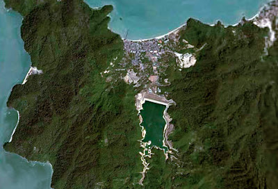 Picture of Penang Island at north east coast at Batu Ferringhi from space