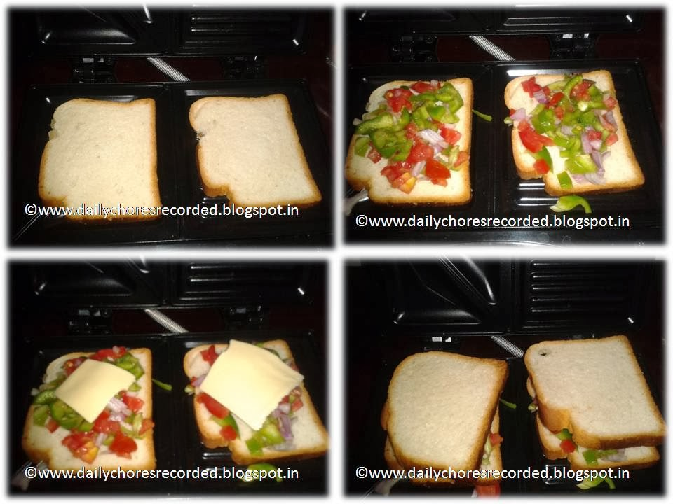 Mixed Vegetables with Cheese Sandwich