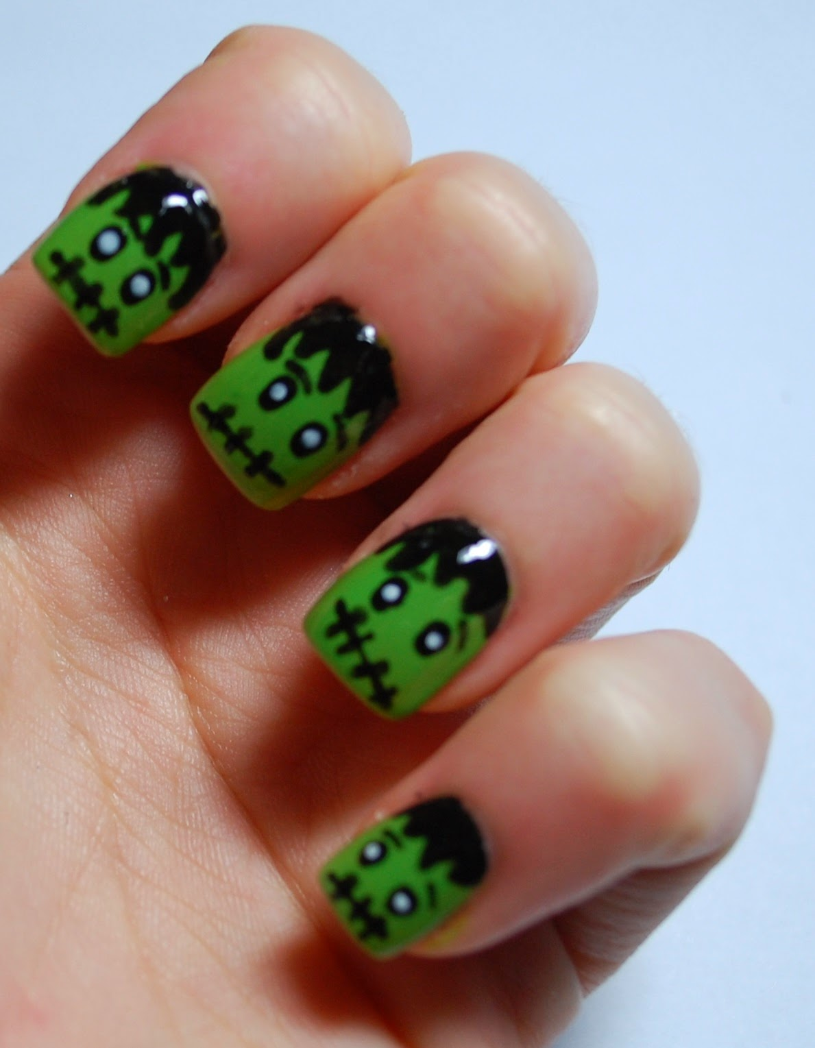 ... nail art designs recently so I thought I would give the Frankenstein  look a try. Its very easy to create, so if you want to find out how I  created the ... - In SAMazement: Halloween Frankenstein Nail Art