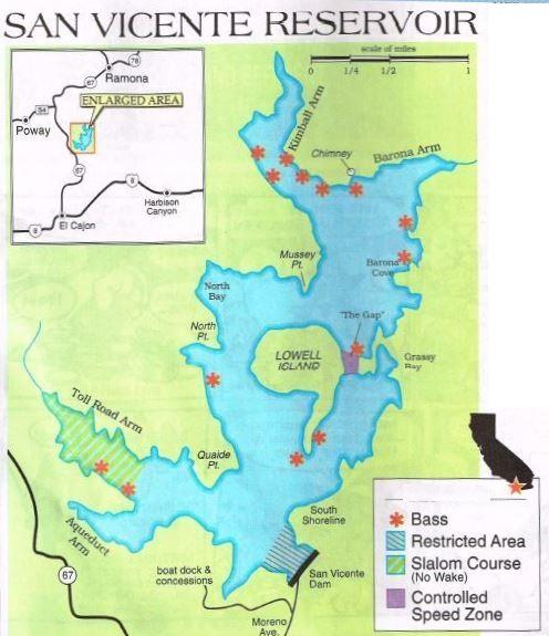 Lake san vicente fishing map fishing report hunting for San diego lake fishing report