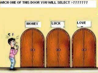 Which One of This Door will you select? Money, Luck, Love