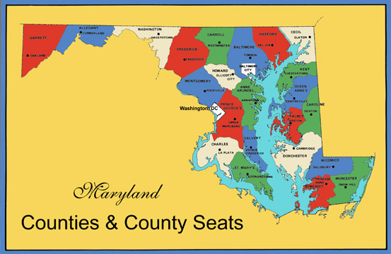 Maryland County Map Area  County Map Regional City