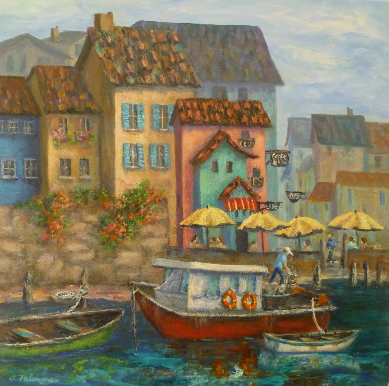 Painting of boats by an Italian Village